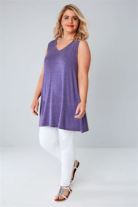 sleeveless swing top purple stud embellished fine knit sleeveless swing top