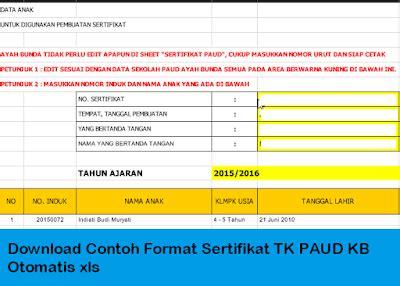 contoh format absensi guru tk download contoh format sertifikat tk paud kb otomatis xls