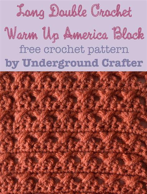 pattern warm up crochet pattern long double crochet warm up america block