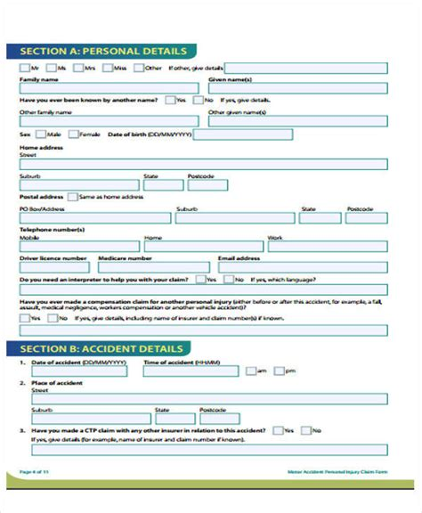 personal injury claim form template 49 claim forms exles