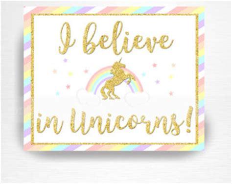 printable unicorn signs believe in unicorns etsy