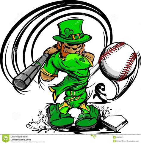 irish swinging st patricks day leprechaun swinging baseball bat royalty