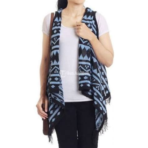 cardigan rajut cewek motif tribal blue light model terbaru harga murah bandung dijual