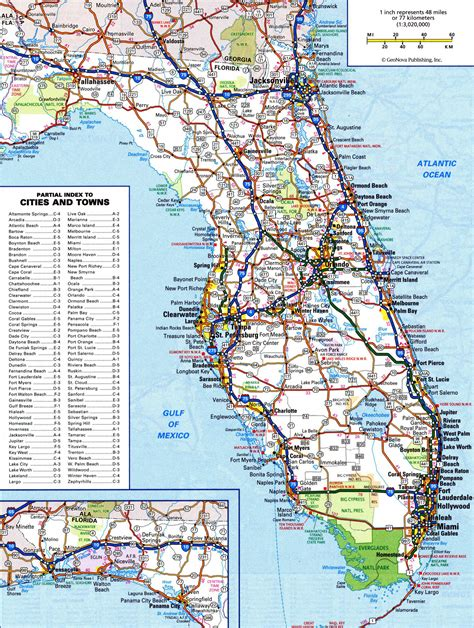 flordia map large detailed roads and highways map of florida state vidiani maps of all countries in