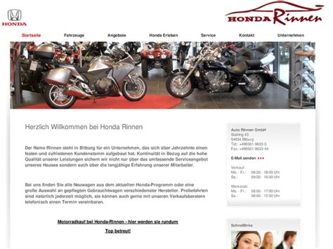 Motorradverleih Bremen by Honda Rinnen Gmbh In Bitburg Motorradh 228 Ndler