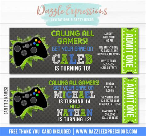 printable birthday cards video games printable video game ticket birthday invitation boys