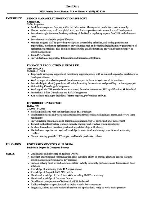 Sql Unix Production Support Resume
