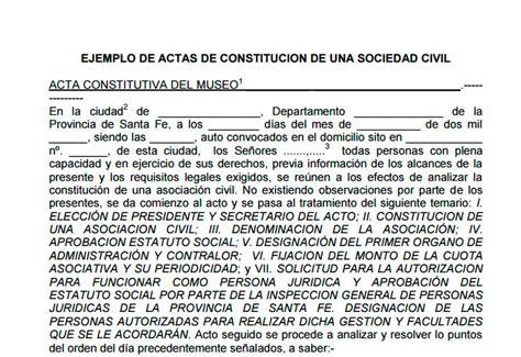 modelo de contrato de una sociedad civil crear empresas ejemplo de acta de constituci 243 n de una sociedad civil