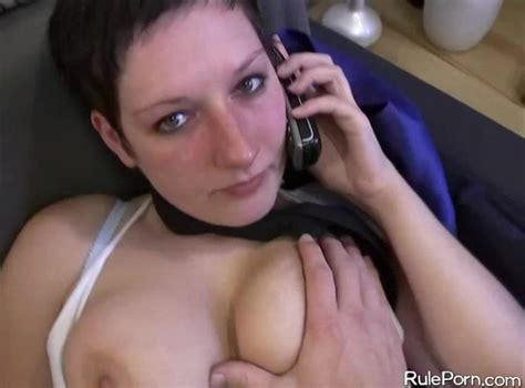 German Amateur Girl On The Phone While Fucking