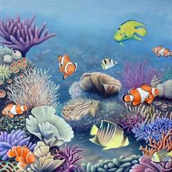 Tropical Fish Shower Curtain Coral Reef Painting By Rick Borstelman