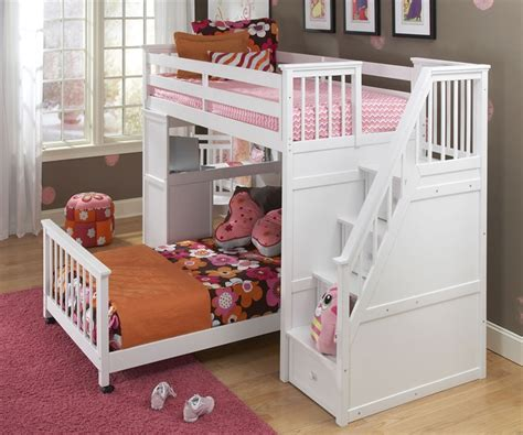 White Bunk Bed Stairs School House Stair Loft Bunk Bed White Bed Frames Ne