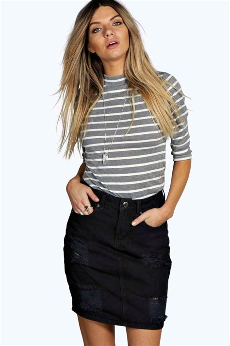 western style distressed denim skirt at boohoo