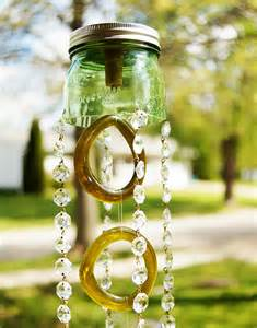 Upcycled Jewelry - green mason jar and recycled wine bottle wind chimes