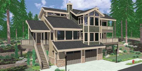 house plans for sloping lots view home sloping lot multi level house plan 3d home
