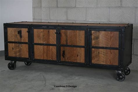 Lemari Wheels buy a crafted vintage industrial media console credenza rustic reclaimed wood made