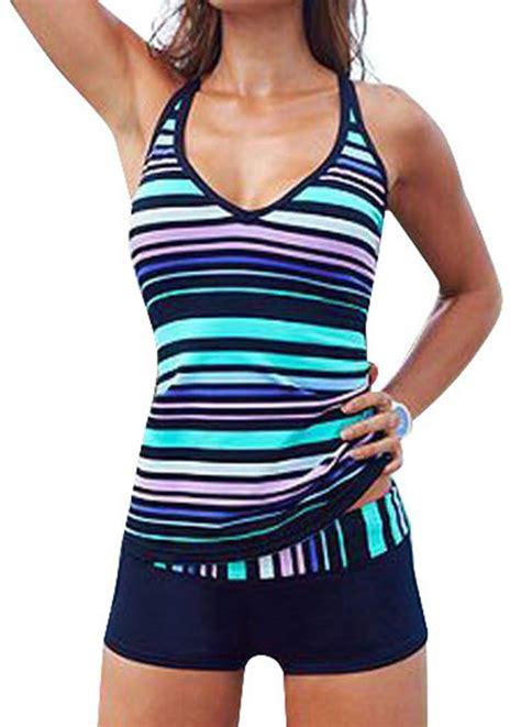 2 piece l set women sporty tankini sets with boy shorts swimwear two