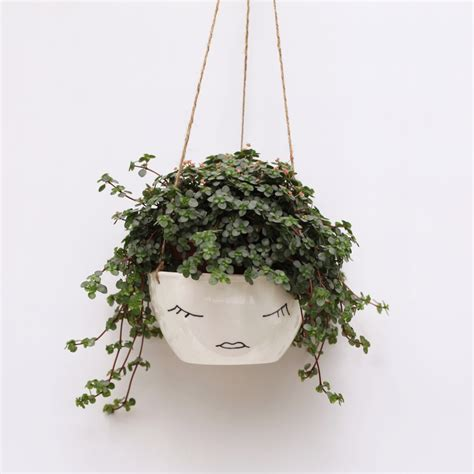white hanging planter white ceramic hanging planter face plant pot character