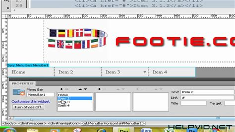 dreamweaver tutorial navigation bar dreamweaver horizontal spry menu bar navigation youtube