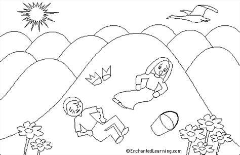 preschool coloring pages jack and jill jack and jill printout enchantedlearning com
