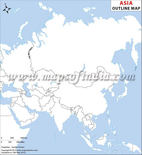 Asia Outline Map, Asia Blank Map