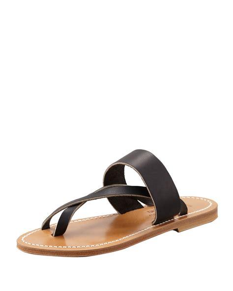 Sandal Wedges Wg12 Black 1 lyst k jacques nehru crisscross toe ring flat sandal in black