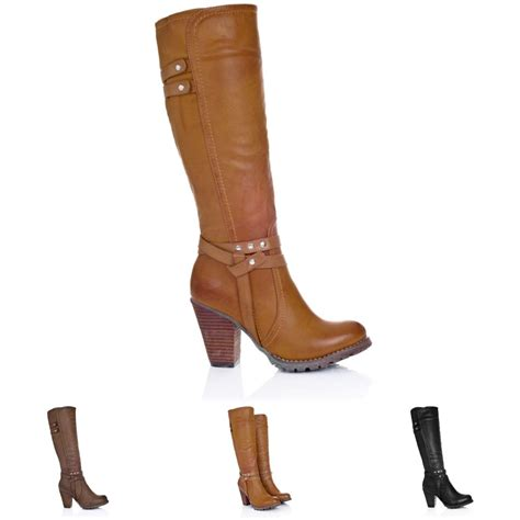 new womens block heel zip knee high biker boots size 3 8