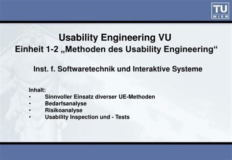Usability Engineer by Ppt Usability Engineering Vu Einheit 1 2 Methoden Des Usability Engineering Powerpoint