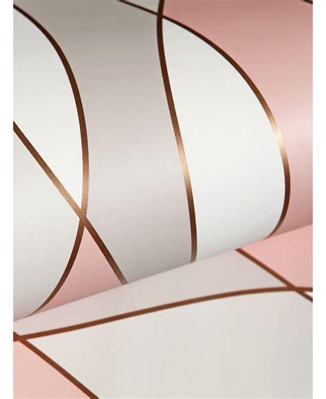 apex wave geometric wallpaper rose gold fine decor fd