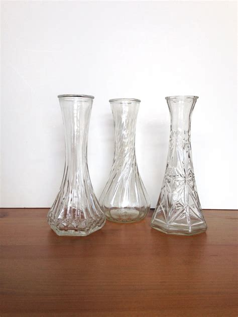 Hoosier Glass Vases Vintage by Vintage Clear Bud Vases Hoosier Glass Mixed Design Wedding