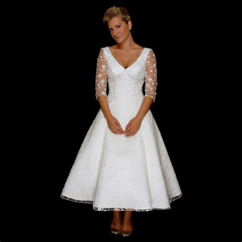 tea length wedding dresses with sleeves Naf Dresses