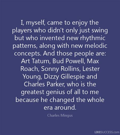 who invented swing music i myself came to enjoy the players who by charles mingus
