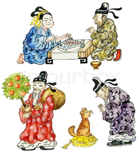 cartoon chinese people icon set stock photo colourbox