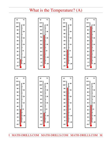 Reading A Thermometer Worksheet by Reading Temperatures On A Thermometer A