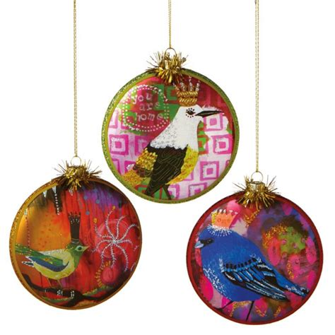 bird printed disk christmas ornaments set of 3