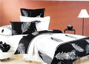feather print bedding feather print classic black and white color 4