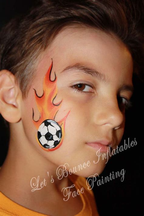 Soccer Ball With Flames Boy S Face Painting By Let S | soccer ball with flames boy s face painting by let s