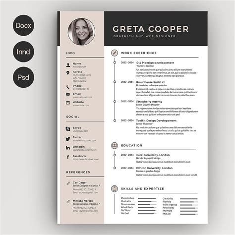 Clean Creative Resume Templates by Clean Cv Resume Ii Cv Template Template And Creative