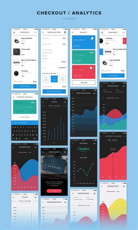 mobile ui themes v avenue mobile ui kit by pixelbuddha graphic themeforest