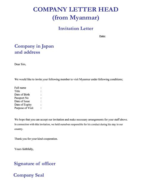 us visa application company letter sle letter of invitation template best template