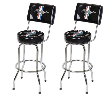 bar stool with back rest ford mustang chrome black tribar running horse bar