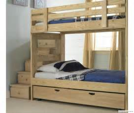 Bunk Bed With Trundle And Stairs Build A Bunk Bed With Trundle Woodworking Projects