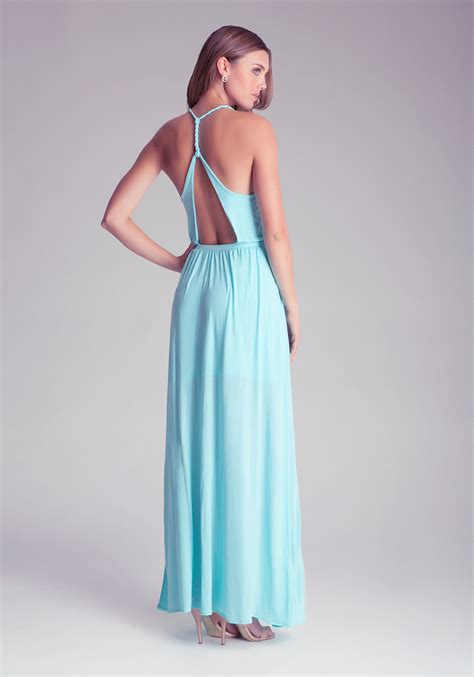 Open Back Maxi Dress lyst bebe open back maxi dress in blue