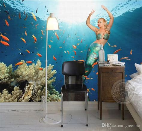 3d Floor Painting Wallpaper Underwater World Mermaid 3d Floor Pvc | beautiful mermaid wallpaper underwater world wall mural 3d