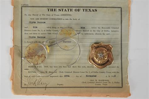 Dallas County Sheriff Warrant Search West Dallas Duo Bonnie And Clyde S Criminal Keepsakes Are Heading To Auction This June