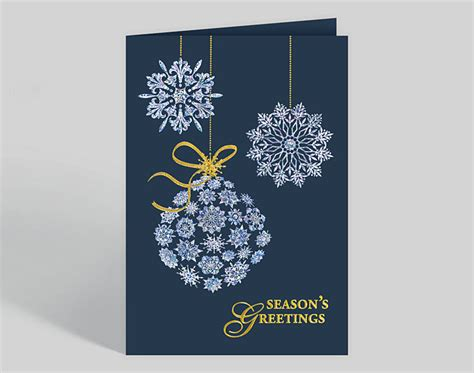 shimmering snowflake trio holiday card  business christmas cards