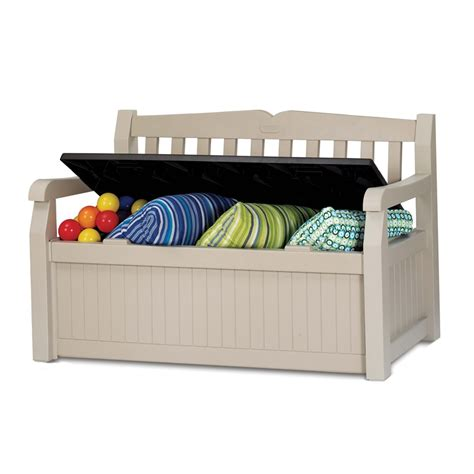 keter 265l 140x60x84cm eden outdoor storage bench i n