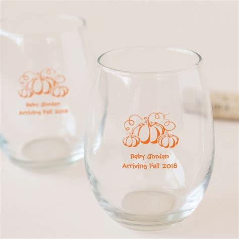 baby shower personalized wine glass baby shower stemless wine glasses personalized stemless