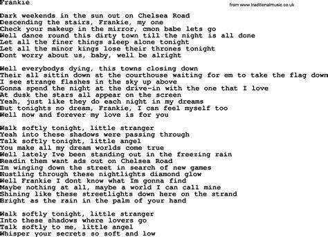 lyrics bruce springsteen bruce springsteen song frankie lyrics