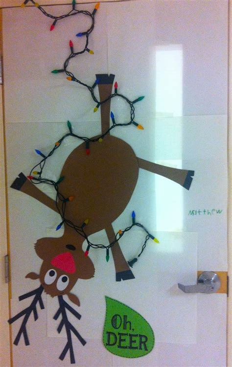oh deer door decoration with firsties merry