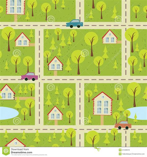 seamless pattern houses seamless pattern with light asphalt and houses royalty